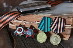 Medals WWII composition. Old military awards to participants of military operations during the Second World War Royalty Free Stock Photography