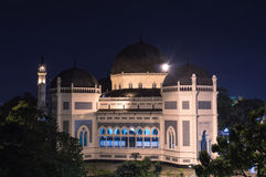 Medan's Great Mosque at Night. Stock Photos