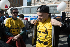 Medborgare i den politiska demonstrationen för Maj dag Arkivfoton