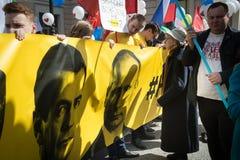 Medborgare i den politiska demonstrationen för Maj dag Arkivbild