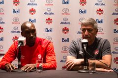Medborgare Team Media Conference för ` s för Kanada fotbollmän i Toronto Royaltyfri Bild