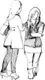 meddela flickor två Stock Illustrationer