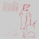 Meddelande av landning på flygplanet Flickan rymmer en stor påse En kvinna står på flygplatsen Damen är stock illustrationer
