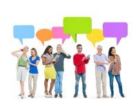 Meddelande begrepp för gemenskapanslutningsteknologi Royaltyfri Bild