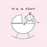 Meddelande för baby shower för vektor för flicka för handattraktion gulligt Royaltyfri Foto