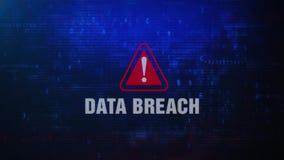 Meddelande för fel för databrytningvarning som varnande blinkar på skärmen royaltyfri illustrationer