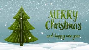 Meddelande för hälsning för glad jul för grönt xmas-träd och för lyckligt nytt år i engelska på blå bakgrund, snöflingor elegantt royaltyfri illustrationer