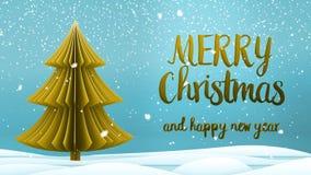 Meddelande för hälsning för glad jul för guld- xmas-träd och för lyckligt nytt år i engelska på blå bakgrund, snöflingor elegantt vektor illustrationer