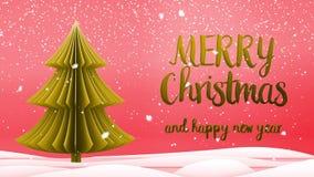Meddelande för hälsning för glad jul för guld- xmas-träd och för lyckligt nytt år i engelska på röd bakgrund, snöflingor elegantt royaltyfri illustrationer