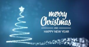 Meddelande för hälsning för glad jul för mousserande ljusxmas-träd och för lyckligt nytt år i engelskt på blå bakgrund, snöflingo