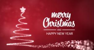 Meddelande för hälsning för glad jul för mousserande ljusxmas-träd och för lyckligt nytt år i engelskt på röd bakgrund, snöflingo