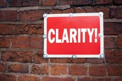 Meddelande för klarhet för begrepp för klarhet för visning för inspiration för överskrift för handhandstiltext som menande är skr arkivfoto