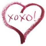 Meddelande för kram- och kyss— XOXO i hjärta Shape Arkivfoton