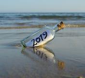 Meddelande för slutet av årets det lyckliga nya året för parti 2019, royaltyfria bilder