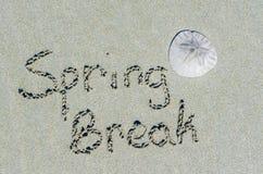 Meddelande för våravbrott i sanden med sanddollaren Royaltyfri Foto