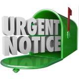 Meddelande för viktig information om akut meddelandepost kritiskt Mailbo Royaltyfri Bild