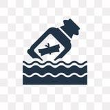 Meddelande i en flaskvektorsymbol som isoleras på genomskinlig backgrou stock illustrationer