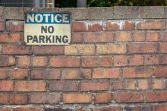Meddelande ingen parkering Royaltyfria Foton