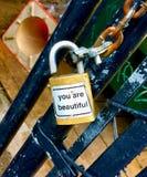 Meddelande på ett lås Royaltyfria Bilder