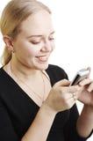 meddelande som överför textkvinnan arkivfoton
