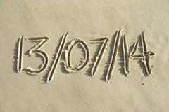 Meddelande världscupBrasilien för sista datum i sand Arkivfoton