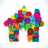 meddelandebubblor gör den hem- symbolen Arkivfoton