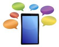 Meddelanden runt om en tablet Royaltyfri Foto