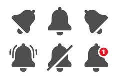 Meddelandesymboler Meddelandeklockor, påminnelseapplikationen och smartphonemeddelanden sätter en klocka på symbolen isolerade ve royaltyfri illustrationer