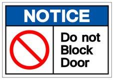 Meddelandet blockerar inte dörrsymboltecknet, vektorillustrationen, isolat på den vita bakgrundsetiketten EPS10 vektor illustrationer