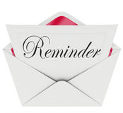 Meddelandet för påminnelseordanmärkningen minns den viktiga tidsbeställningen Meetin Royaltyfria Foton