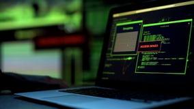 Meddelandetillträde förnekade skriftligt på bärbar datorskärmen, serveren som blockerar hacka försök royaltyfri foto