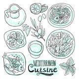 Medditerranean kokkonst stock illustrationer