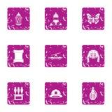 Meddling icons set, grunge style. Meddling icons set. Grunge set of 9 meddling vector icons for web isolated on white background Royalty Free Stock Images