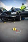 Medecina legal del choque de coche Foto de archivo