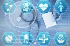 Composite image of medecine. Medecine against doctor writing prescription on paper Royalty Free Stock Photos