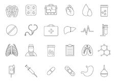 Medecine black icons set. Set of 24 medicine black icons Stock Photos