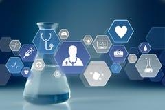 Medecine i ogólna opieki zdrowotnej ikona wystawiający na medycznym inte Fotografia Stock