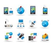 Mededeling, computer en mobiele telefoonpictogrammen Stock Afbeelding