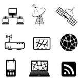 Mededeling en de reeks van het computerpictogram Stock Foto's