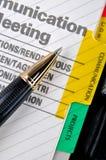 Mededeling en pen Stock Afbeeldingen