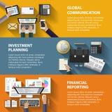 Mededeling, investering en het melden van concept Stock Afbeelding