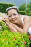 Medelålders thailändsk attraktiv kvinna. Royaltyfri Fotografi