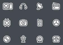 Medel, elektronik & kommunikationer - vektorsymboler stock illustrationer