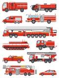 Medel för brandbekämpning för vektor för brandmotor nöd- eller röd firetruck med firehose- och stegeillustrationuppsättningen av stock illustrationer