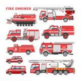 Medel för brandbekämpning för vektor för brandmotor nöd- eller röd firetruck med firehose- och stegeillustrationuppsättningen av royaltyfri illustrationer