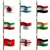 medelasiatiska östliga flaggor stock illustrationer