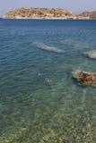 Medelhav- och Spinalonga ö crete Grekland Arkivfoton