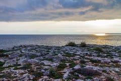 Medelhav soluppgång Mallorca Spanien sidosikt Arkivfoto