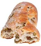 Medelhavs- bröd med gröna oliv Royaltyfri Fotografi