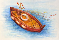 Medelhavs- fiskebåtvattenfärgbild arkivbilder